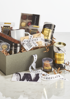 The Nut Collection Box, filled with a collection of chocolate edibles with a nutty taste profle.