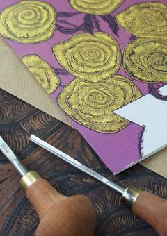 Linocut Art Greeting Card By Yellow Rose Design