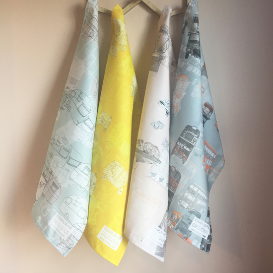 Printed cotton tea towels in Charlie Pie designs.