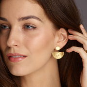 Gold Half-Moon Statement Earrings