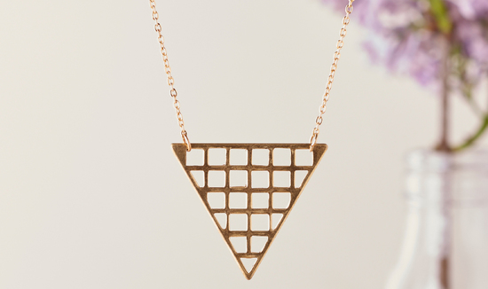 Long Gold Necklace with Triangle Pendant