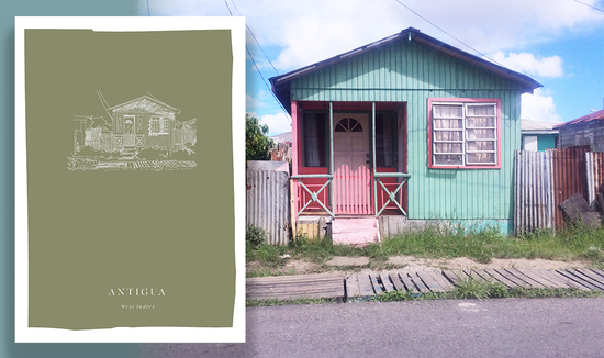 A print from the Fiona's Notes collection overplayed on a photograph of a brightly painted house in the Caribbean