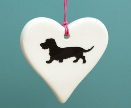 Wire Haired Dachshund Ceramic Hanging Heart