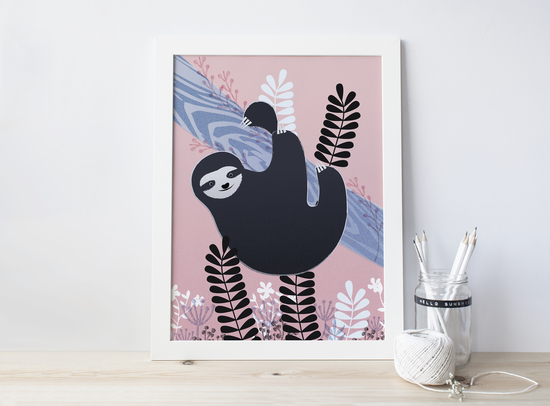 Illustrated Sloth Print