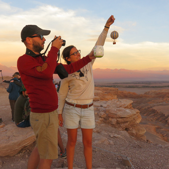 Founders of Trouvaille Global taking product shots at Atacama Desert, Chile.