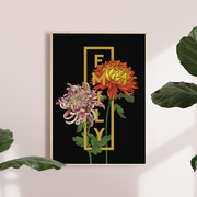 Personalised Botanical Orchids Flower Print