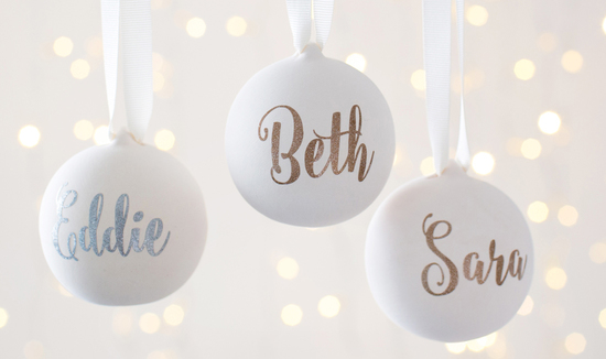 Personalised Ceramic Glitter Baubles
