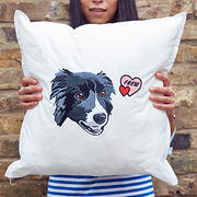hand-drawn pet embroidery on cushion cover