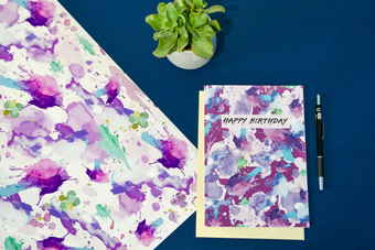 Bright printed cards and gift wrap
