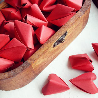 Large origami hearts