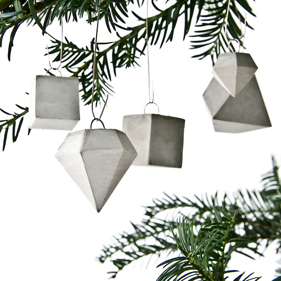 Geometric Concrete Ornaments, Modern Christmas Decor Inspiration