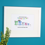 elly boot wellington family print personalised bunting watercolour framed