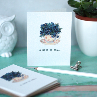 Violet Teacup Mini Notecards