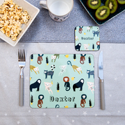 hendog personalised placemat and coaster