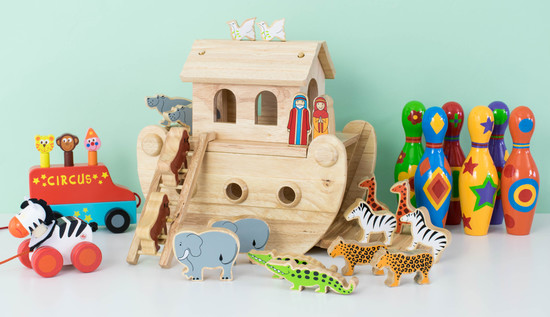 selection of traditional wooden toys