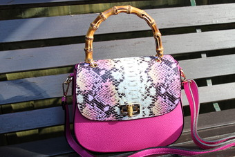 Italian pink and snake print messenger bag with bamboo handle