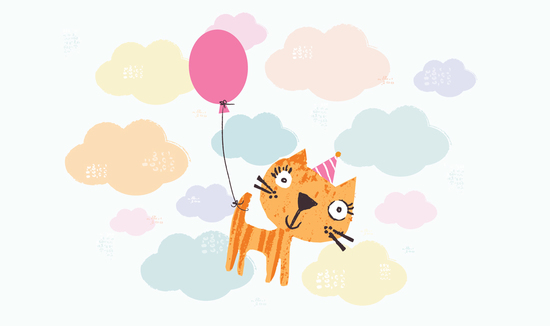cat with balloon floating through clouds