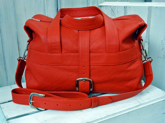 Our red leather Overnight Bag