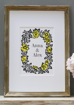 Wedding print yellow roses