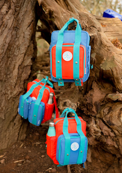 three backpacks hanging in a tree. The are blue and red with magnetic pouches attached.