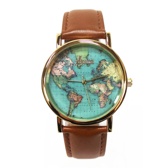 World Map watch with genuine leather straps