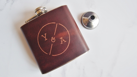 personalised leather bound hip flask for weddings with funnel, custom whiskey bottle