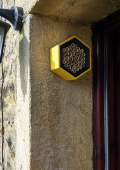 A yellow & black honeycomb bee house mounted on a brick wall