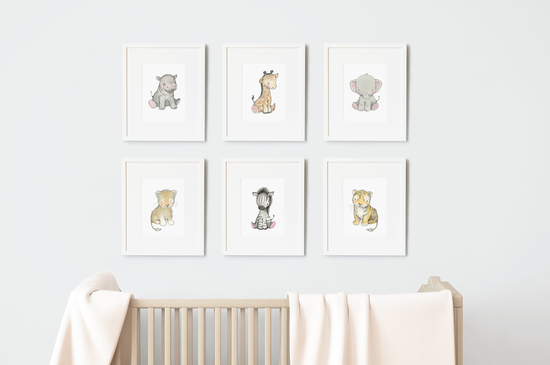 Children's Safari Animal Wall Art Set of six prints