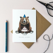 Bear with a Birthday Cake Greetings Card
