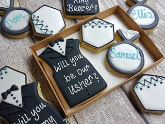personalised biscuit gifts for ushers and best man