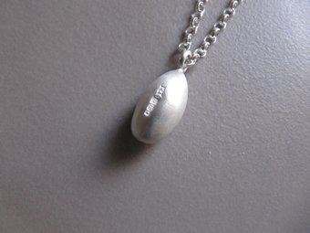 Katrina Alexander Hand Carved Silver Egg Pendant Necklace