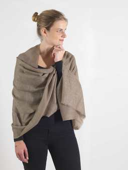 Natural Taupe Cashmere Scarf