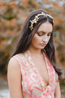 Agnes Walker Gold Acorn Bridal Headband