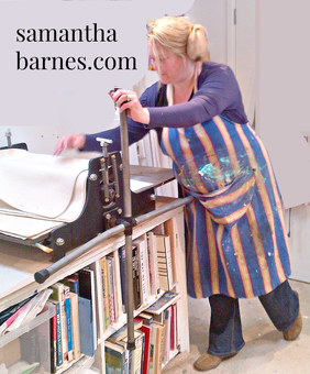 Samantha Barnes Artist at her press.