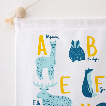 Animal A-Z wall hanging nursery decor by Stephanie Cole Design