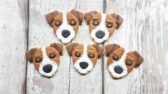 Hand decorated jack russell cookies