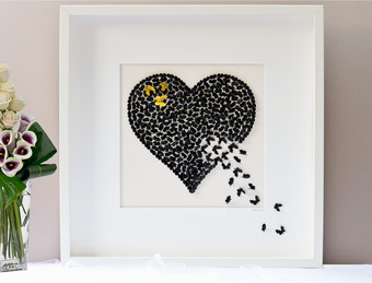 A stunning original butterfly heart picture with three handpainted gold accent butterflies. I accept commissions for larger works in the colours of your choice.
