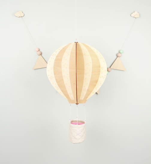 Our Hot Air Balloon wall hanging and Wooden Bunting