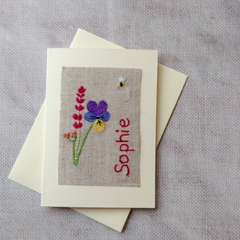 Hand Embroidered garden card