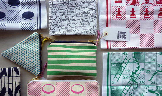 Mr.PS screenprinted hankies and purses