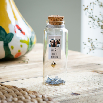 personalised photo gift message in a bottle