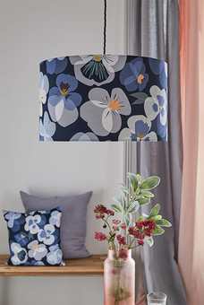 Pansy lampshade and cushion