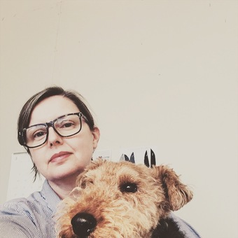 Owner Louise and muse Edwyn the Welsh Terrier