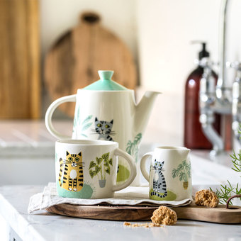 Teapot, mug and small jug from the Catlife Tableware Collection