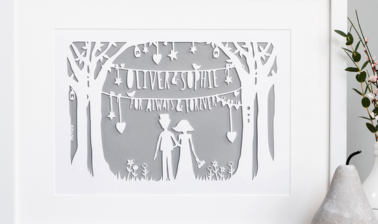 Personalised wedding papercut in ivory