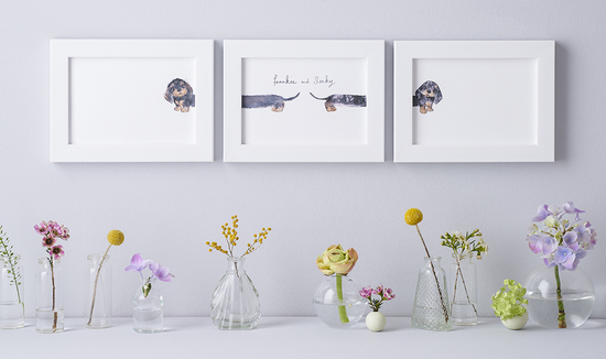 Personalised sausage dog tryptic print