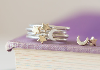 Our Lunar stacking rings are made from solid gold and silver