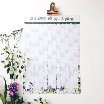 2018 tropical wall planner, which reads 'carpe all of the diems'