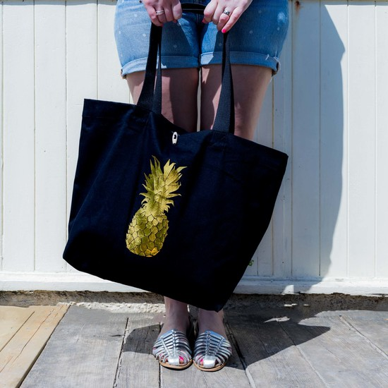 Pineapple Foil Print Beach Bag