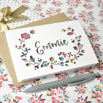 personalise paper cut flower greeting card